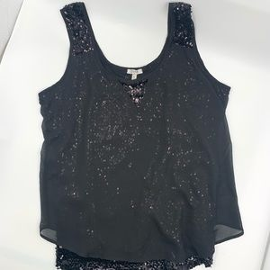 Cache black sequin top with sheer overlay. SZ XL